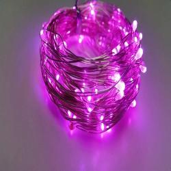 Светодиодная гирлянда Нить на батарейках 5м розовый