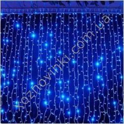 гирлянда штора водопад 2*1.5 м 320 LED синяя 8 шнуров)