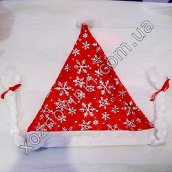 №475 Новогодняя Шапка Деда Мороза с Косичками (12 шт. в уп.)