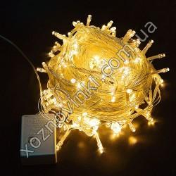 Гирлянда нить силиконовый провод 100 ламп LED Теплый 220 v