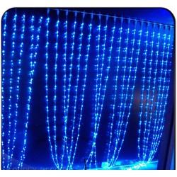 Гирлянда водопад белый провод 320 ламп 3х3м синий №761