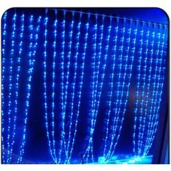 Гирлянда Штора- водопад 3D 300 Led 3х2 см бел провод ПВХ с переходником, улич Синий