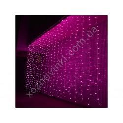 Гирлянда Штора- водопад 3D 300 Led 3х2 см бел провод ПВХ с переходником, улич розовый
