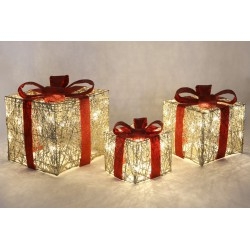 Набор декоративных подарков( 3 шт) с подсветкой, Размер 25х25см,19х19см,15х15см