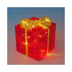 Набор декоративных подарков( 3 шт) с подсветкой, Размер 25х25см,19х19см,15х15см Красный+золото