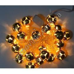 Гирлянда Сфера Золото LED 20 металлических шариков 3 метра