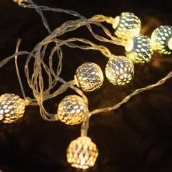 Гирлянда 20 металлических серебряных шариков Z-62 Gold