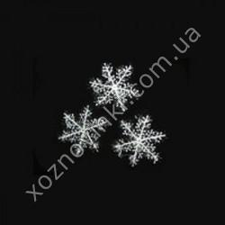 Украшение «Снежинка» пластиковая белая (6 шт. в уп.)