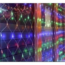 Гирлянда светодиодная LED сетка на окно 1.5х1.5 м мульти силиконовый провод