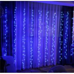 Гирлянда Штора -водопад 300 LED/ 300х200 см,проз.шнур, синий 10 шнуров)