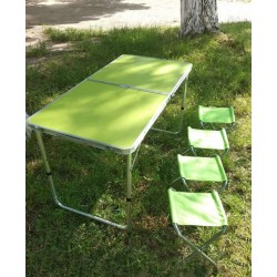Стол для пикника с 4 стульями Folding Table (60х120 cм) зеленый