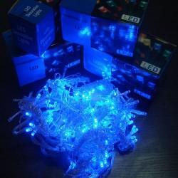 Гирлянда нить силиконовый провод 100 ламп LED Синяя 220 v