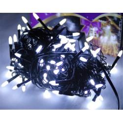 Гирлянда 200 LED (РИС) на черном проводе 16 м белый цвет № 565