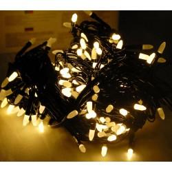 Гирлянда 300 LED (РИС) на черном проводе 22 м теплый № 567