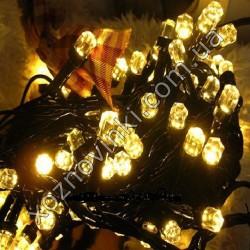 Гирлянда Мини Рубин чёрный шнур 100 LED золото №775