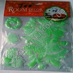 Новогодние декоративные наклейки «Room Decor» фосфор на стекло (20 × 20 см)